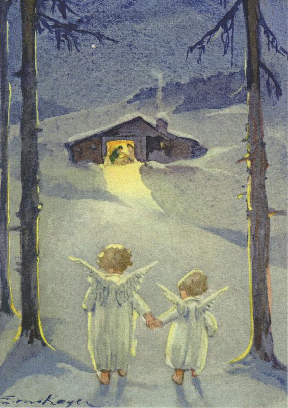 7447 «Zwei Engel auf dem Weg zur Krippe»