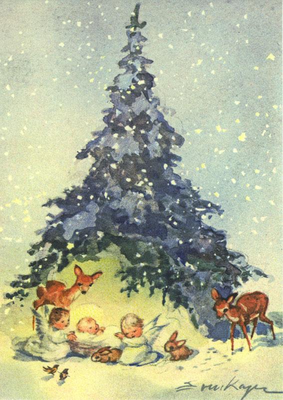 7451 «Christkind, zwei Engel und Waldtiere unter einem Tannenbaum»