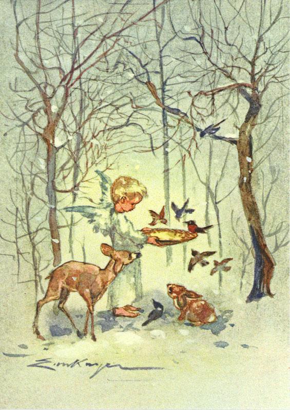 7452 «Engel füttert Vöglein im Wald»