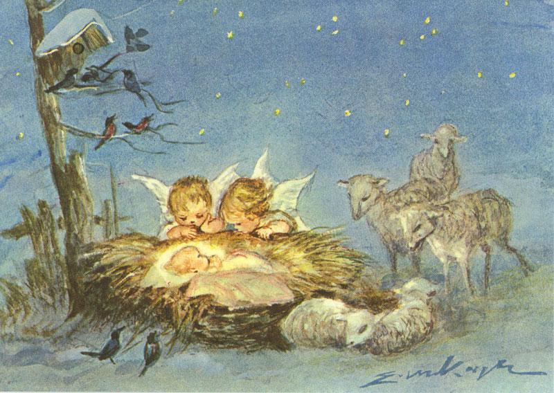 7453 «Zwei Engel betrachten das Kind in der Krippe»