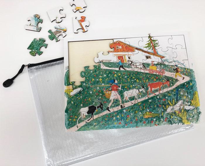 PZ74 Holzpuzzle «Schellen-Ursli + Flurina»