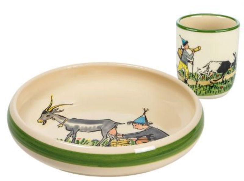 39541 Kinderset Ursli mit Geiss, Rheinfelder Keramik