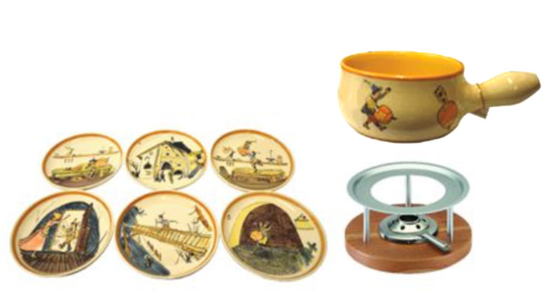 39900 Fondue Set Basic 8-teilig Schellenursli, AKTION, Rheinfelder Keramik